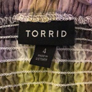 torrid Tops - Torrid plaid smocked off shoulder peplum Sz 4 NWOT
